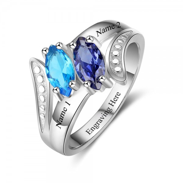 Unique Silver Symbols Marquise Cut 2 Stones Birthstone Ring In Sterling Silver