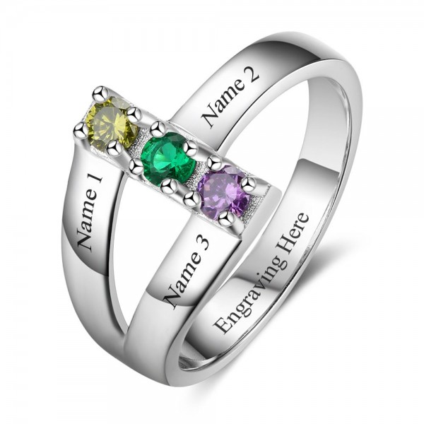 Unique Silver Stackable Round Cut 3 Stones Birthstone Ring In S925 Sterling Silver