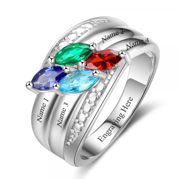 Engravable Silver Stackable Marquise Cut 4 Stones Birthstone Ring In Sterling Silver