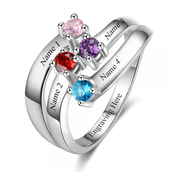 Affordable Silver Stackable Round Cut 4 Stones Birthstone Ring In S925 Sterling Silver