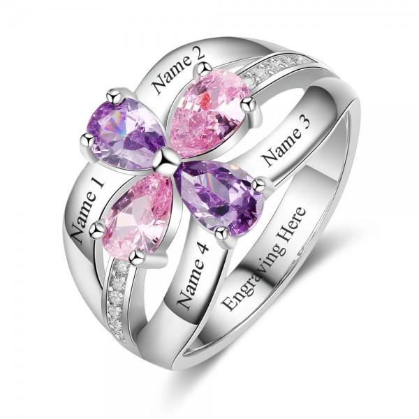 Fashion Silver Flowers Pear Cut 4 Stones Birthstone Ring In Sterling Silver