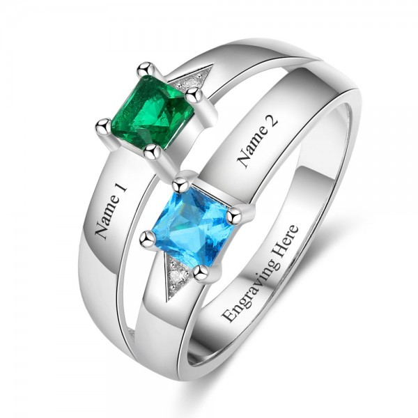 Customized Silver Trends Princess Cut 2 Stones Birthstone Ring In Sterling Silver