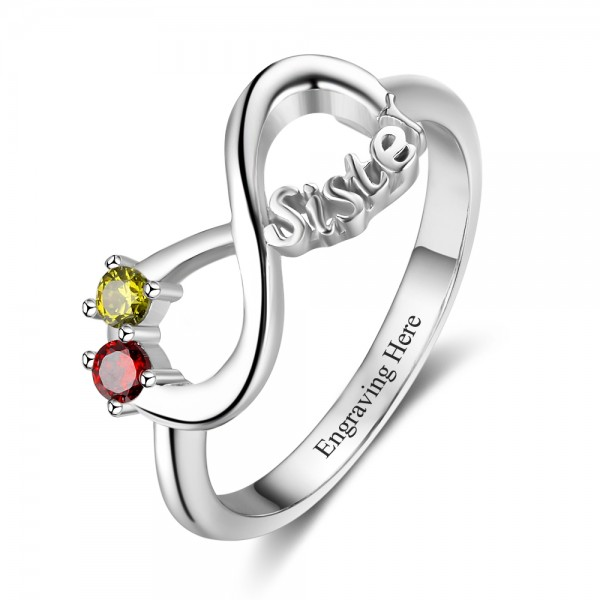 Unique Silver Sister Round Cut 2 Stones Birthstone Ring In S925 Sterling Silver