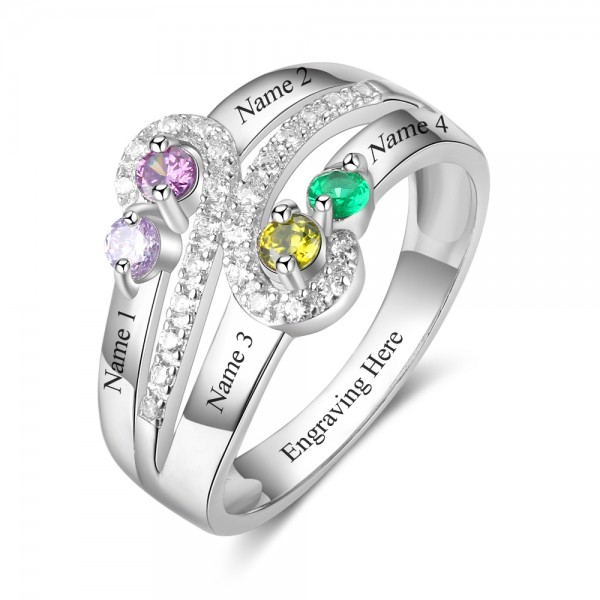 Affordable Silver Symbols Round Cut 4 Stones Birthstone Ring In 925 Sterling Silver