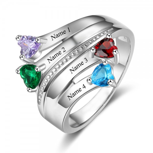 Personalized Silver Stackable Heart Cut 4 Stones Birthstone Ring In S925 Sterling Silver