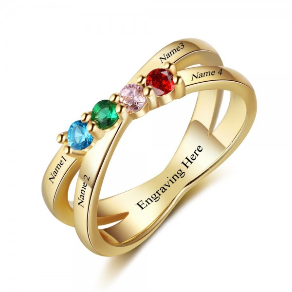Engravable Yellow Infinity Round Cut 4 Stones Birthstone Ring In Sterling Silver