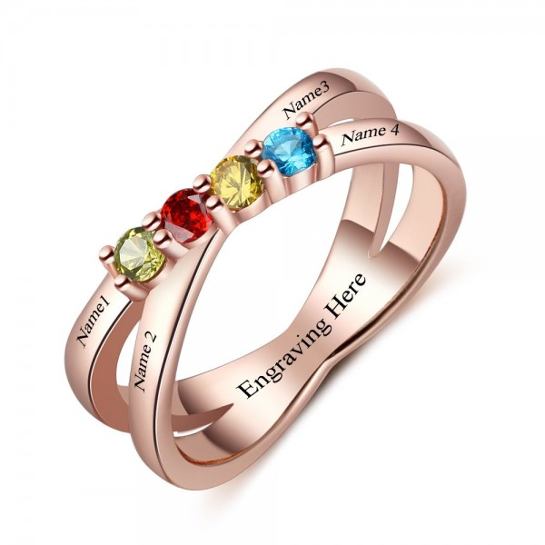 Unique Rose Infinity Round Cut 4 Stones Birthstone Ring In Sterling Silver