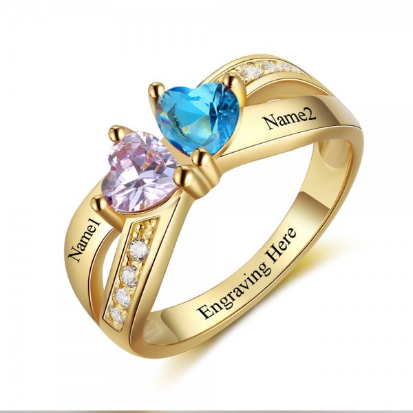 Fashion Yellow Symbols Heart Cut 2 Stones Birthstone Ring In 925 Sterling Silver