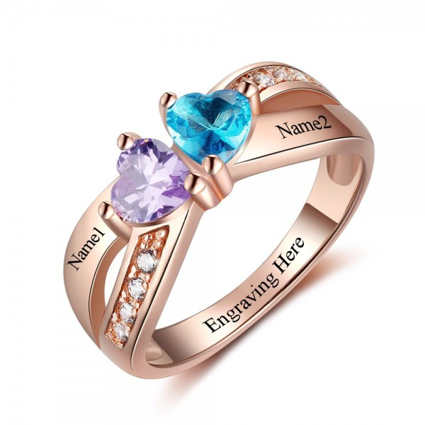 Customized Rose Symbols Heart Cut 2 Stones Birthstone Ring In Sterling Silver