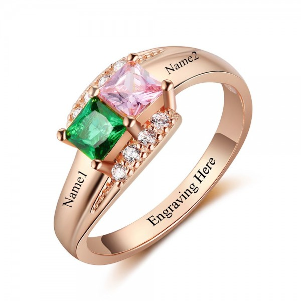 Personalized Rose Love Princess Cut 2 Stones Birthstone Ring In 925 Sterling Silver