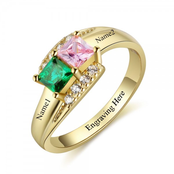 Customized Yellow Love Princess Cut 2 Stones Birthstone Ring In 925 Sterling Silver