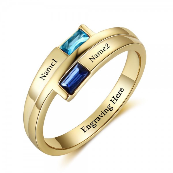Unique Yellow Trends Baguette Cut 2 Stones Birthstone Ring In Sterling Silver