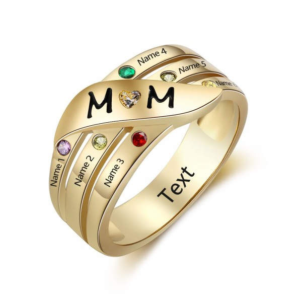 Unique Yellow Stackable Round Cut 6 Stones Birthstone Ring In S925 Sterling Silver