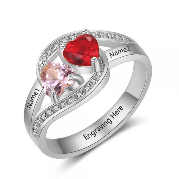 Personalized Silver Symbols Heart Cut 2 Stones Birthstone Ring