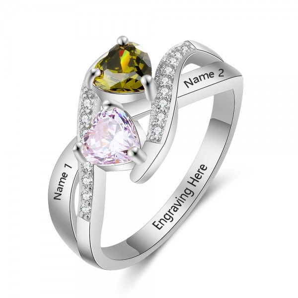 Customized Silver Trends Heart Cut 2 Stones Birthstone Ring In 925 Sterling Silver