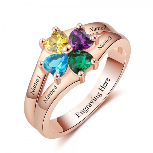 Unique Rose Flowers Heart Cut 4 Stones Birthstone Ring In 925 Sterling Silver