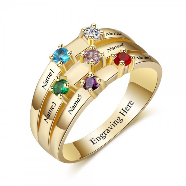 Fashion Yellow Stackable Round Cut 6 Stones Birthstone Ring In Sterling Silver