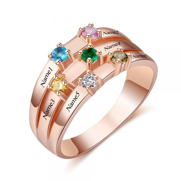 Unique Rose Stackable Round Cut 6 Stones Birthstone Ring In Silver