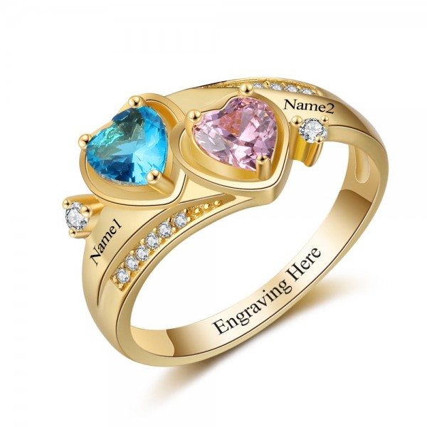 Engravable Yellow Love Heart Cut 2 Stones Birthstone Ring In Sterling Silver