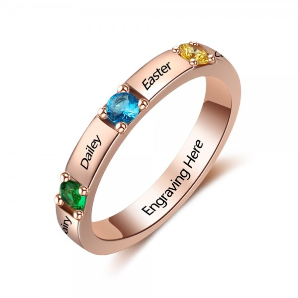 Personalized Rose Trends Round Cut 3 Stones Birthstone Ring In 925 Sterling Silver