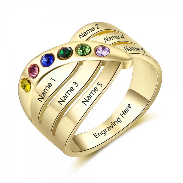 Personalized Yellow Stackable Round Cut 6 Stones Birthstone Ring In S925 Sterling Silver