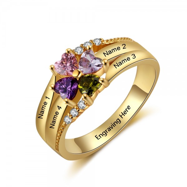 Engravable Yellow Flowers Heart Cut 4 Stones Birthstone Ring In Sterling Silver