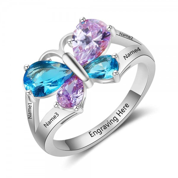 Customized Silver Butterfly Pear Cut 4 Stones Birthstone Ring In Sterling Silver