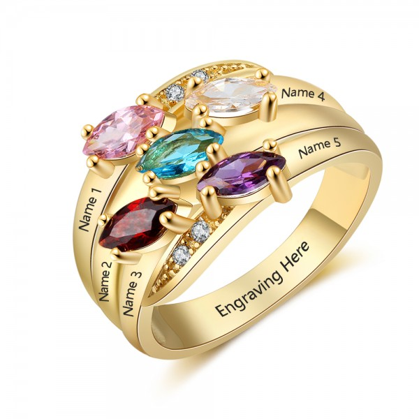 Affordable Yellow Family marquise Cut 5 Stones Birthstone Ring In S925 Sterling Silver