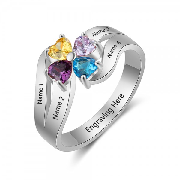 Affordable Silver Flowers Heart Cut 4 Stones Birthstone Ring In S925 Sterling Silver