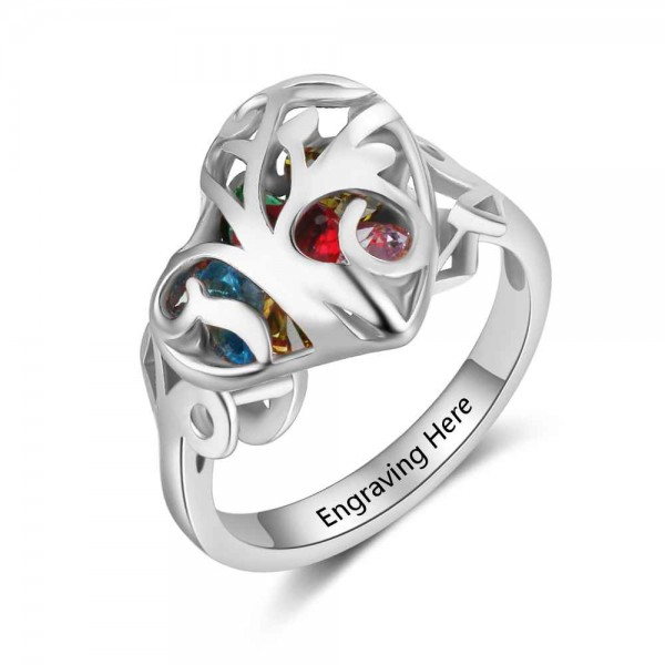 Unique Silver Cage Heart Cut 6 Stones Birthstone Ring In 925 Sterling Silver