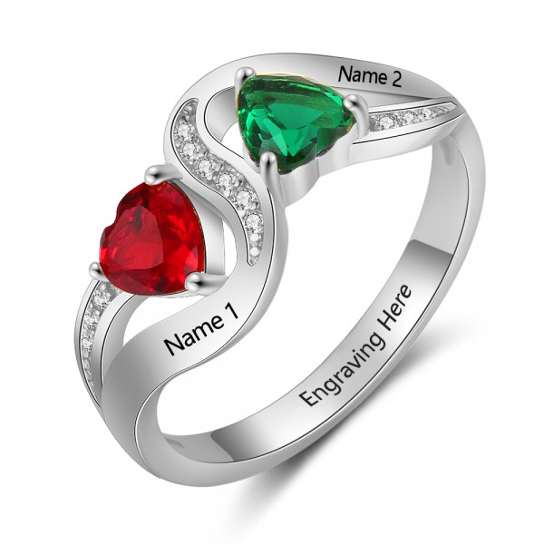 Personalized Silver Love Heart Cut 2 Stones Birthstone Ring In 925 Sterling Silver