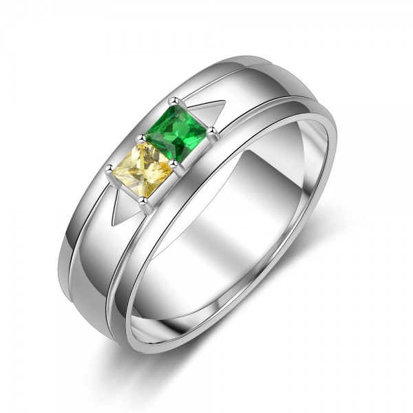 Engravable Silver Solitaire Princess Cut 2 Stones Birthstone Ring In 925 Sterling Silver