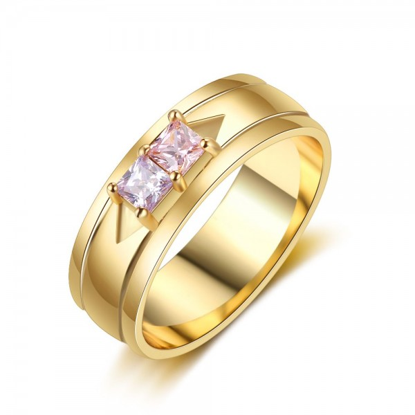 Engravable Yellow Solitaire Princess Cut 2 Stones Birthstone Ring In S925 Sterling Silver