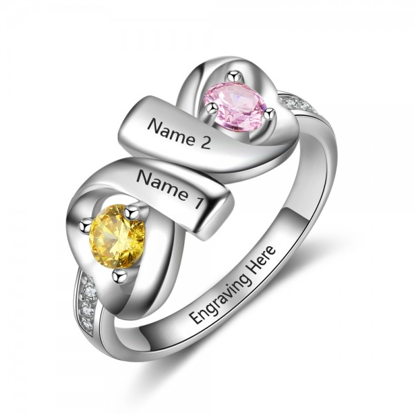 Customized Silver Infinity Round Cut 2 Stones Birthstone Ring In Sterling Silver