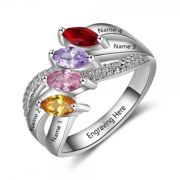 Engravable Silver Knot marquise Cut 4 Stones Birthstone Ring In Sterling Silver