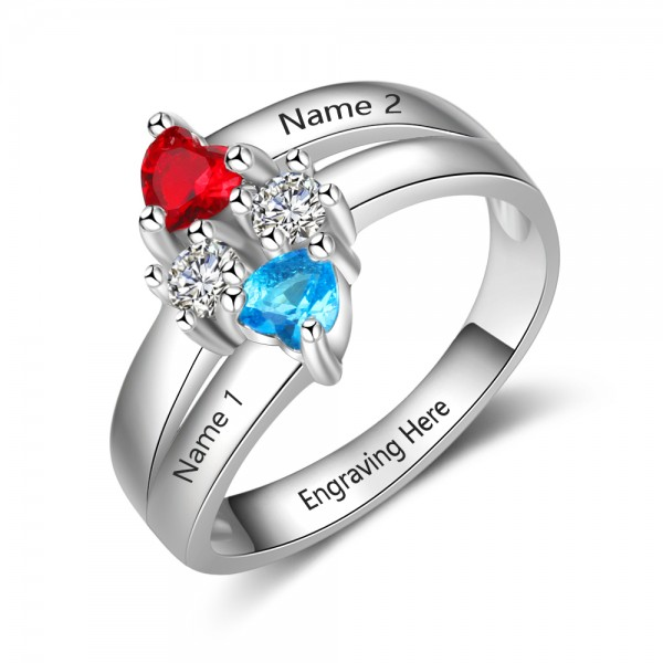 Personalized Silver Love Heart Cut 2 Stones Birthstone Ring In S925 Sterling Silver