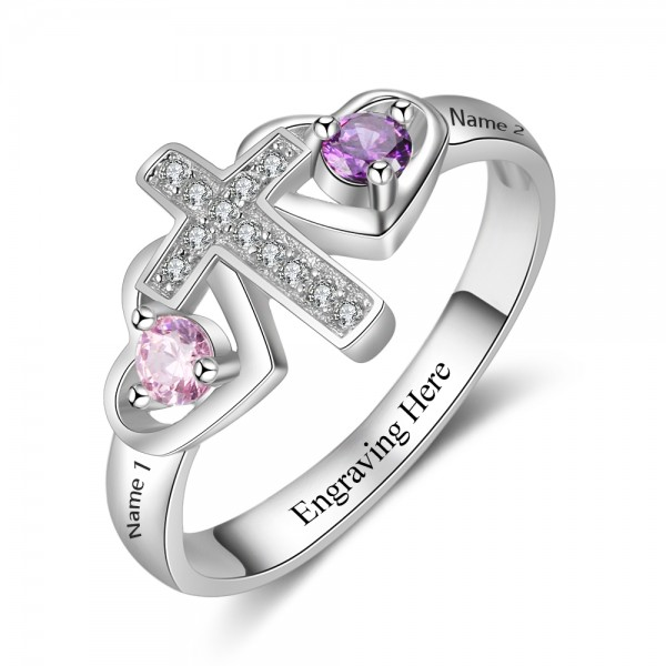 Fashion Silver Cross Round Cut 2 Stones Birthstone Ring In S925 Sterling Silver