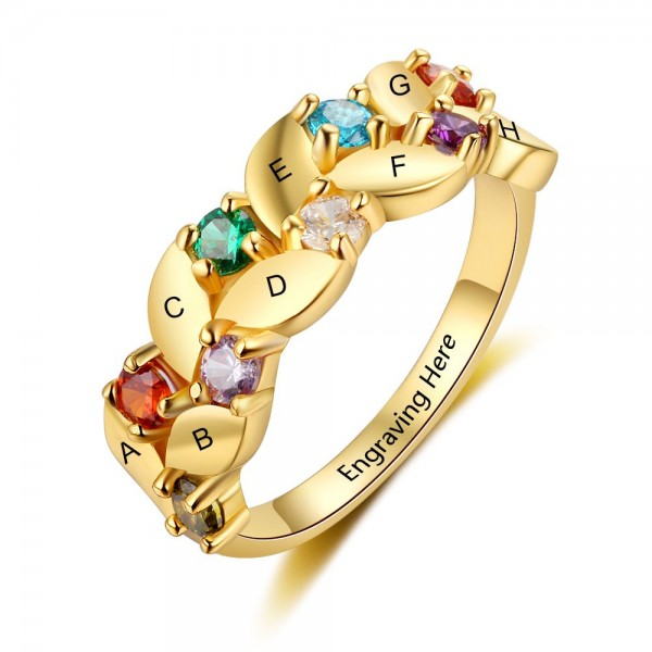 Engravable Yellow Family Round Cut 8 Stones Birthstone Ring In S925 Sterling Silver