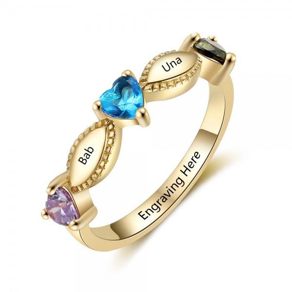 Fashion Yellow Leaf Heart Cut 3 Stones Birthstone Ring In 925 Sterling Silver