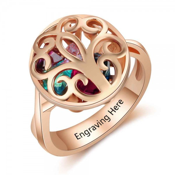 Personalized Rose Cage Heart Cut 6 Stones Birthstone Ring In 925 Sterling Silver