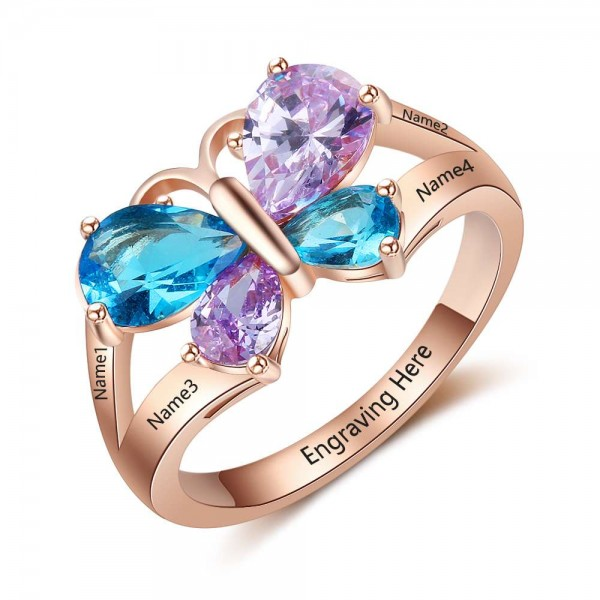 Fashion Rose Butterfly Pear Cut 4 Stones Birthstone Ring In Sterling Silver