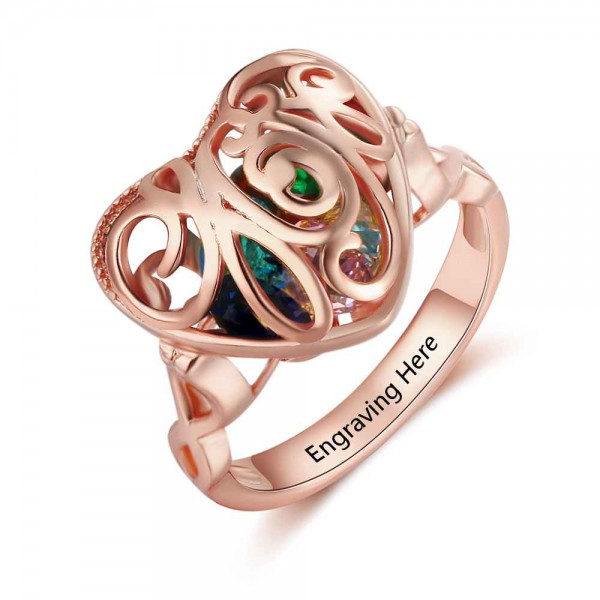 Unique Rose Cage Heart Cut 6 Stones Birthstone Ring In Sterling Silver