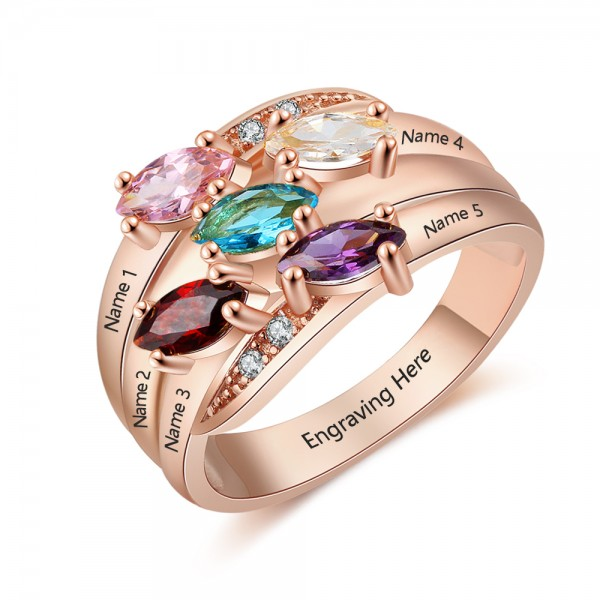 Engravable Rose Stackable Marquise Cut 5 Stones Birthstone Ring In S925 Sterling Silver