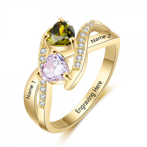 Fashion Yellow Knot Heart Cut 2 Stones Birthstone Ring In 925 Sterling Silver