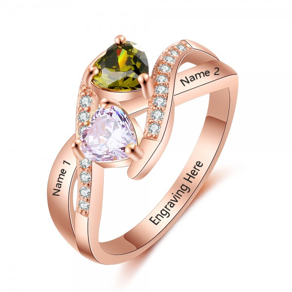 Unique Rose Knot Heart Cut 2 Stones Birthstone Ring In S925 Sterling Silver