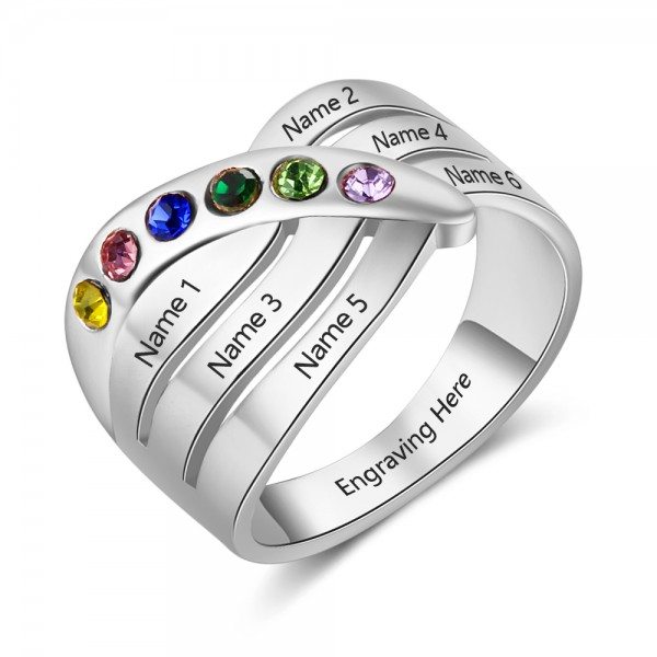 Personalized Silver Stackable Round Cut 6 Stones Birthstone Ring In Sterling Silver