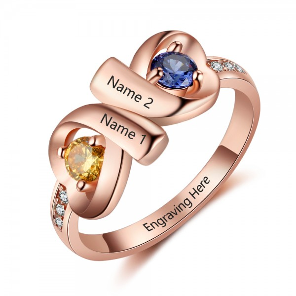 Customized Rose Infinity Round Cut 2 Stones Birthstone Ring In Sterling Silver