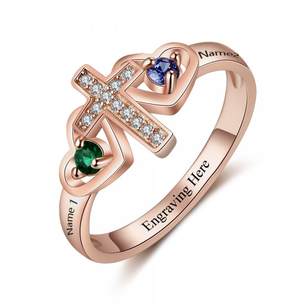 Affordable Rose Cross Round Cut 2 Stones Birthstone Ring In Sterling Silver