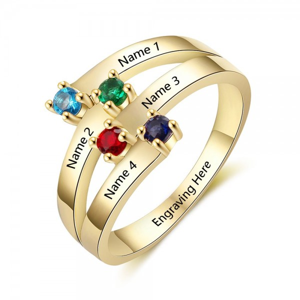 Customized Yellow Stackable Round Cut 4 Stones Birthstone Ring In 925 Sterling Silver