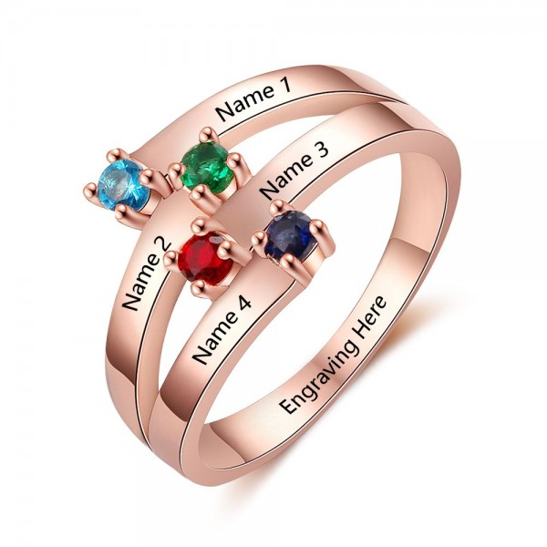 Customized Rose Stackable Round Cut 4 Stones Birthstone Ring In S925 Sterling Silver
